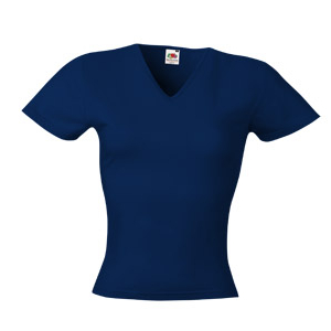 Фото Футболка Lady-Fit V-Neck, т-т-синий, 95% х/б, 5% эластана, 230 гр «Fruit of the Loom»