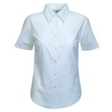 Руб. New Lady-fit Short Sleeve Oxford Shirt, бел._M, 70% х/б, 30% п/э