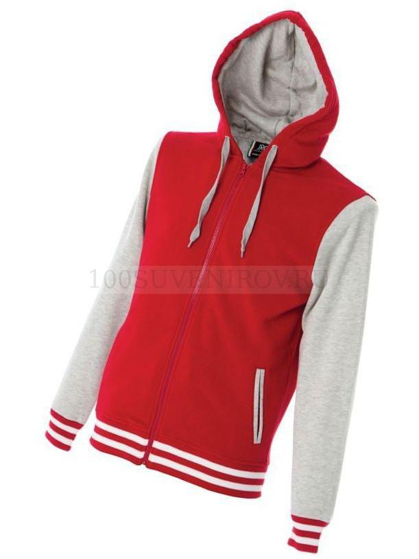 6df87324 Фото Хлопковая толстовка, с капюшоном, на молнии, колледж стиль, красный /  серый