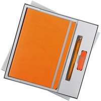 Набор оранжевый из кожи VIVID MEMORY с флешкой: недатированный ежедневник и ручка