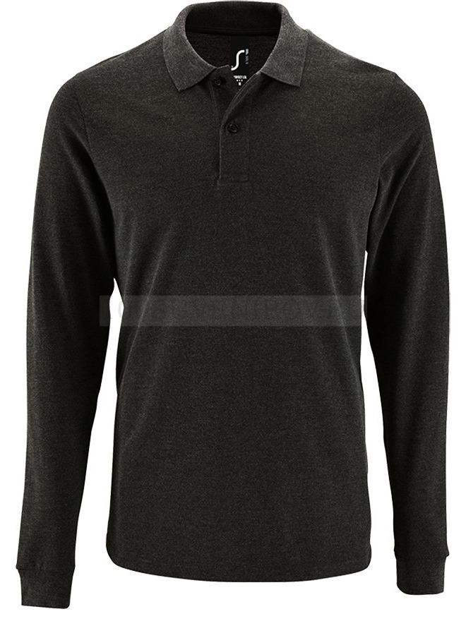 7c545a8a65f Фото Мужская рубашка поло черная меланж с длинным рукавом PERFECT LSL MEN